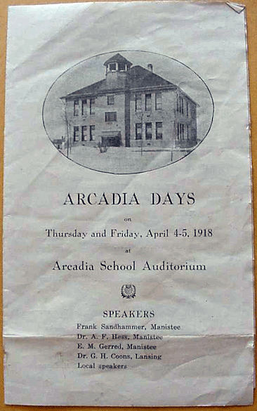 Arcadia Days 1918 Program Cover